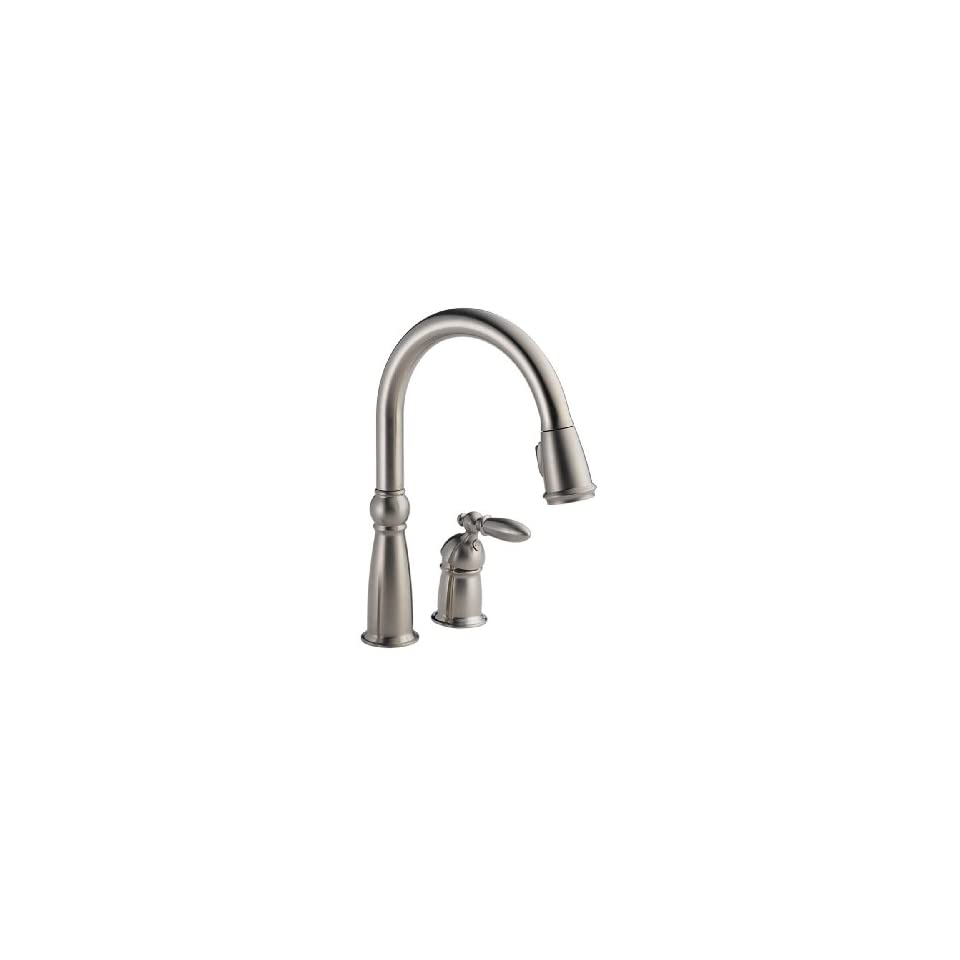Delta Faucet 955 SSSD DST Victorian Single Handle Pull Down Kitchen Faucet with Matching Soap and Lotion Dispenser, Brilliance Stainless