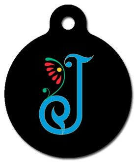 Monogram Letter J Pet ID Tag for Dogs and Cats