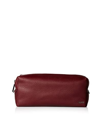 TOD'S Men's Leather Toiletry Bag, Wine, One Size
