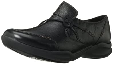 Clarks Of England Women's Wave.Run Black Leather Material Casual 7 2A(N) Us