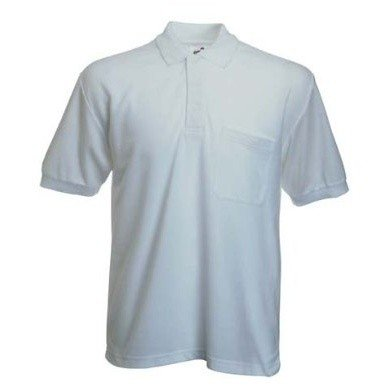 Fruit Of The Loom Mens Pocket 65/35 Pique© Short Sleeve Polo Shirt (S) (White)
