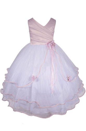 Amj Dresses Inc Girls Pink Flower Girl Pageant Dress Size 6