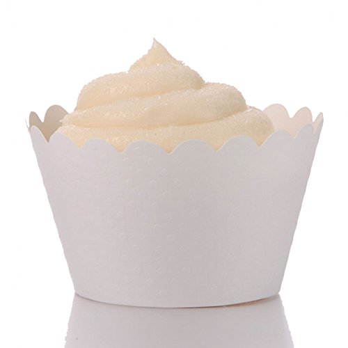 Dress My Cupcake Standard White Cupcake Wrappers, Set of 50
