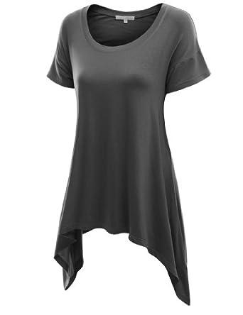 Doublju Srhot Sleeve Knit T-shirt with Ublalanced Hem CHARCOAL (US-S)