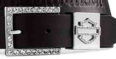 Harley-Davidson® Women's Crystal Bar & Shield Logo Keeper Leather Belt and Buckle. Embossed Strap. Embellishments. 99428-09VW