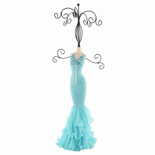 Aqua Blue Dress Jewelry Stand - 14
