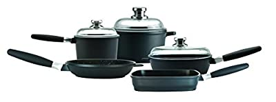 "Eurocast/Berghoff Premium Cookware Family Set With 3 Glass Lids and Removable Handles. Includes 1.2 Qt Sauce Pan (6.25""), 3.2Qt Stock Pot (8""), 9.5"" Fry Pan, 9.5"" Grill Pan, and 9.5"" Saute Pan"