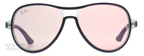 Ray-Ban Junior 9055 192/84 Black Pink 9055 Aviator Sunglasses Size Youth