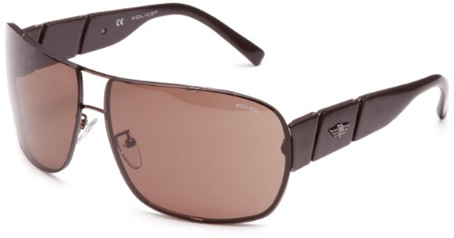 Police Rimless Square Men's Sunglasses Glossy Brown One Size