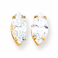 14ct Gold 12x6mm Marquise Cubic Zirconia Earrings