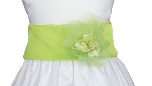 Organza Sash With Matching Flower For Infants Sash Colors: Lime Kids Sizes: 24M (24 Months)