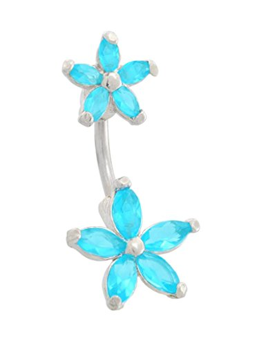 Aqua Lt Blue Flower Starfish Top & Bottom 2 Pc Spinal Belly Button Navel Ring Piercing Bar Body Jewelry 14G