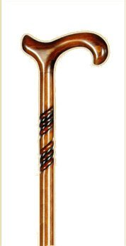 Everyday Gents Walking Stick Carved Wood Derby Handle Cane with Spiral 92cm