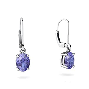 Genuine Tanzanite 14K White Gold Lever Back Earrings