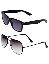 SHEOMY COMBO OF STYLISH BLACK WHITE AVIATOR AND BLACK BLUE MATTE WAYFARER SUNGLASSES WITH 2 BOX