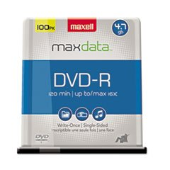 ** DVD-R Discs, 4.7GB, 16x, Spindle, Gold, 100/Pack **