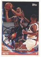 Derrick Coleman New Jersey Nets 1993 Topps Autographed Hand Signed Trading Card -... by Hall+of+Fame+Memorabilia