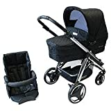 Bebecar Ip-Op Evolution Chrome Combination 3 in1 Pram (Black Velvet) Includes Pushchair Carrycot And Pram Bag SHOP DISPLAY MODEL ONLY