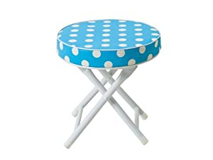 Jip Cushioned Folding Stool With Safety Lock Blue With White Dots by J.I.P.