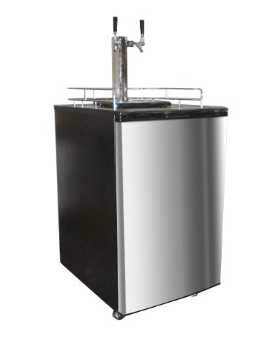 Nostalgia Electrics KRS6100SS Double Kegorator Commercial Twin Tap Beer Keg Fridge, Stainless Steel