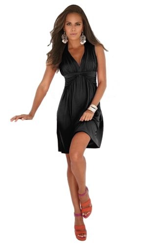Charm Your Prince Women's Sleeveless Summer Sun Dress (Medium, Black)