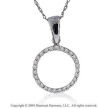 14k White Gold Large Casual Fun Diamond ^O^ Initial Pendant