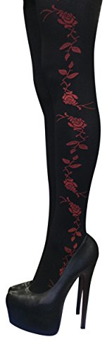 Sock Snob - 1 paia calze collant donna 40 den eleganti disegni fantasia (nero / rosso fiore)