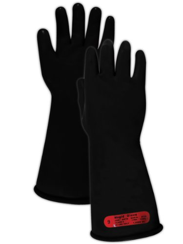 "Magid M014B A.R.C. Natural Rubber Latex Class 0 Insulating Glove With Straight Cuff, Work, 14"" Length, Size 12, Black (1 Pair)"