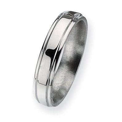 Titanium Ridged-Edge 5mm Polished Band, Size 6.5