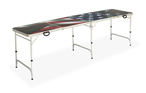 Red Cup Pong Premium HD Design American Flag Beer Table Bottle Opener, Ball Rack, & 6 Balls, 8' (100 Beer Pong Balls compare prices)