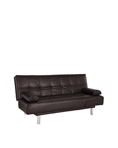 Westport Home Deon Leather Contemporary Sofa Bed, Dark Brown