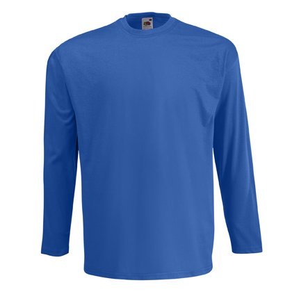 Fruit of the Loom long sleeve plain t-shirt Royal blue Medium