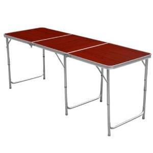 Yahee Partytisch Buffettisch Aluminium Falttisch Campingtisch (180x 60cm) höhenverstellbar Tisch 55cm-62cm-70cm (Rot)