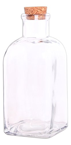 Couronne Co. 16.9 Ounce Clear Decorative Rectangular Glass Bottle with Cork