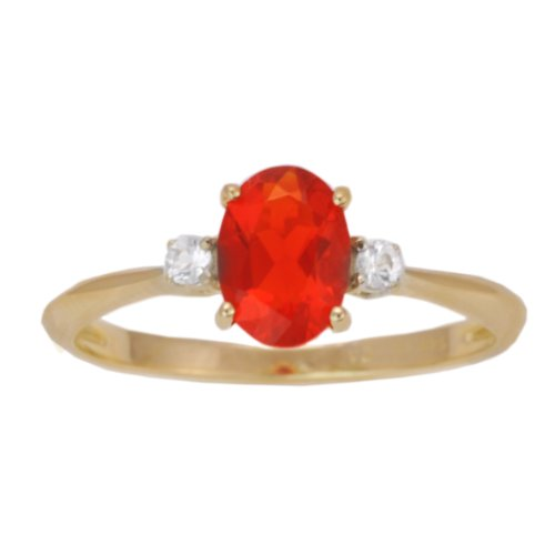 14K Yellow Gold Fire Opal and White Sapphire Exotic Gemstone Solitaire Ring, Size 7