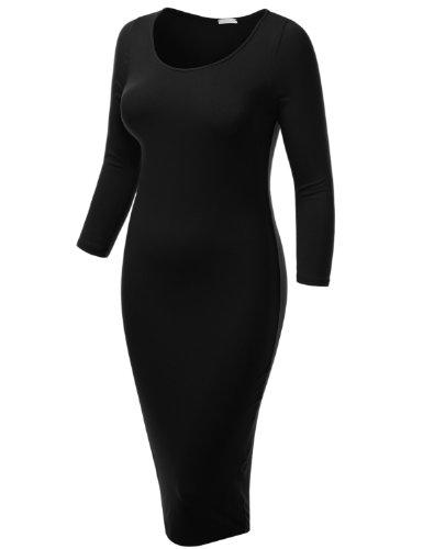 J.TOMSON плюс женская рукава 3/4 Boatneck платье…