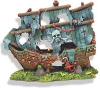 Exotic Environments Pirate's Ghost Ship Aquarium Ornament, 8-Inch by 4-1/2-Inch by 7-Inch