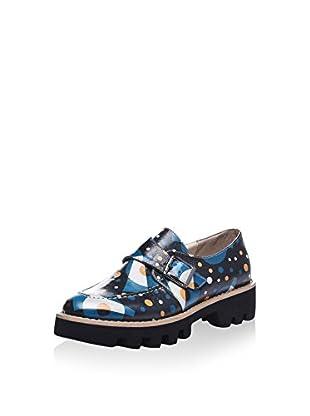 Isabelle Jaquelin Zapatos Monkstrap (Azul / Mostaza)
