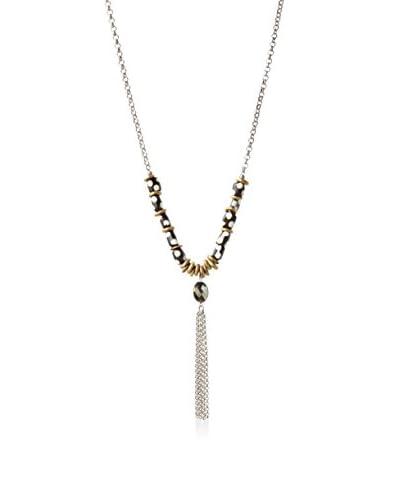 Heather Kahn Pyrite Safari Brass Tassel Necklace