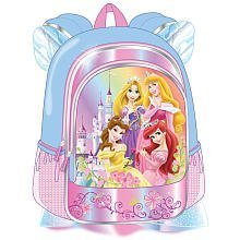 Disney Princess 16 inch Backpack - Belle, Rapunzel, Aurora & Ariel, Castle With Blue Sleeves & Tutu Attached