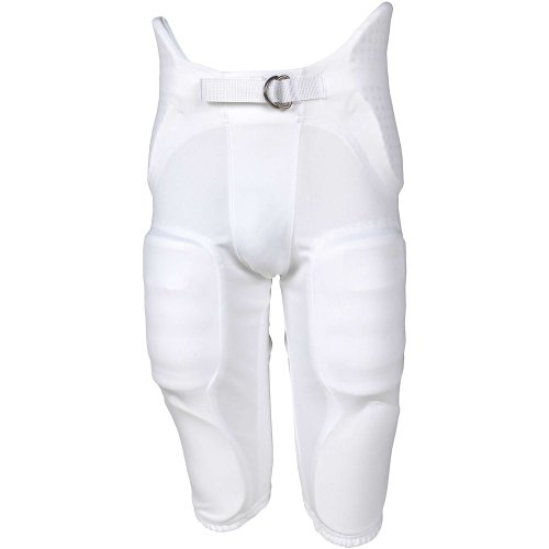 Russell Youth Integrated 7 Piece Pad Economy Football Pants - White-Xs