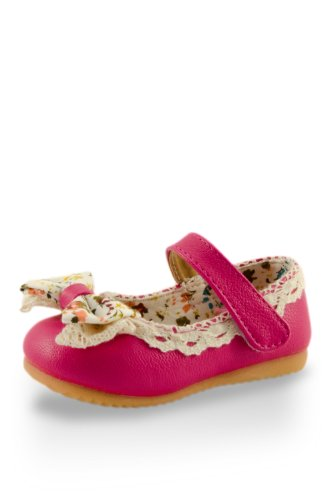 Sweet Baby Soft Floral Bow Training Shoe By Twinkie Pink Size 4 front-36111