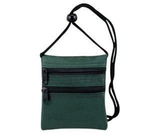 FantasyBag Travel Neck Wallet, Two zippered compartment Hunter Green