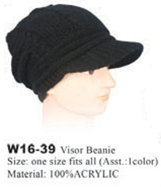 Strickmütze Mütze LONG BEANIE Slouch RASTA Visor W16-39, schwarz