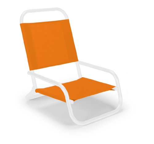 Telescope Casual Sun And Sand Folding Beach Chair, Tangerine With Gloss White Frame