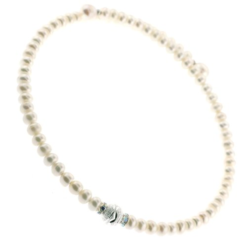 Excellent Quality Freshwater Pearl Button Choker Necklace on Memory Wire with Clear Crystal Spacer Findings and Center Focal Bead- 6-6.5mm Pearls