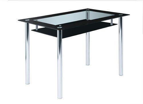 Glastisch-Tisch-Esstisch-Esszimmertisch-Kchentisch-Glasplatten-Ablage-schwarz-Klarglas-Chrom-110-x-70-cm