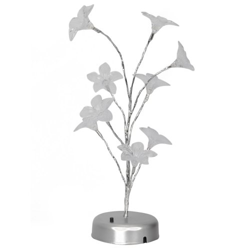 Olymstore Colorful Indoor Decoration Usb Battery Led Lily Flower Tree Nightlight Lamp
