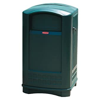 Rubbermaid Commercial FG396400DGRN 50-Gallon Plaza Indoor/Outdoor Trash Can, Dark Green
