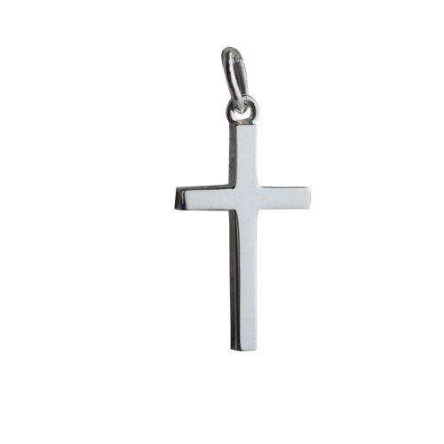 Silver 20x12mm plain solid block Cross